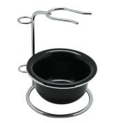 Stainless Steel Shaving Brush Razor Stand Holder and Shaving Bowl/ Mug Set