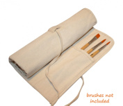 Natural Canvas Artist Brush Holder for Short Handle Paint Brushes and Art Tools - Perfectly Sized Protection and Storage for Smaller Brushes - High Quality Attractive Roll Up Design - Handmade from Durable Cotton Canvas - Excellent.