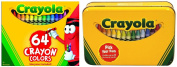 . 64 Crayons with Sharpener and Metal Storage Tin Box Child Kids Drawing Colouring