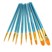 HeroNeo® 10Pcs Artists Paint Brush Set Acrylic Watercolour Round Pointed Tip Nylon Hair