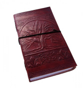 "Celtic ""Tree of Life"" Leather Journal with Parchment Paper and Leather Strap (23cm x 14cm ) By Viatori"