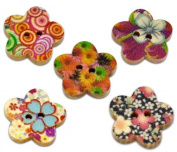 50 Flower Shaped Painted Wooden Buttons in Mixed Designs with Exclusive Shizaru Designs® Gift Bag