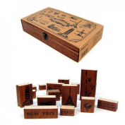 DECORA 15pcs Travel World Attractions Wooden Rubber Stamp