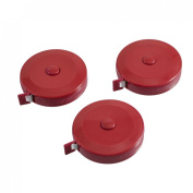 Red Round Case Automatic Retractable Sewing Tape Measure 150cm 60 Inches 3pcs
