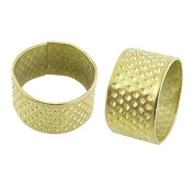 Water & Wood Gold Tone Open Top Tailors Sewing Metal Thimble 2 Pcs