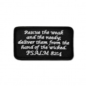 TACTICAL COMBAT BADGE MORALE hook and loop MILITARY PATCH PSALM 82:4 BNW