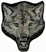 Wolf Grey Embroidered Iron On Applique Patch CD3275