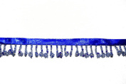 Altotux Beaded Trim Fringe 2.5cm Blue Floral Glass Seed Beads with 1cm Ribbon