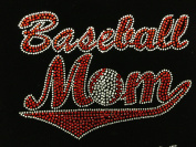 Baseball Mom Red Rhinestone Transfer Iron On Hot Fix Motif Bling Applique - DIY