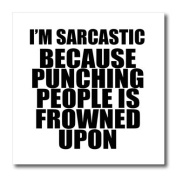 EvaDane - Funny Quotes - Im sarcastic because punching people is frowned upon, - Iron on Heat Transfers - 8x8 Iron on Heat Transfer for White Material