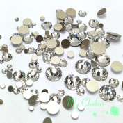 clear CRYSTAL (001) 144 pieces 2058/2088 Crystal Flatbacks rhinestones nail art mixed with Sizes ss5, ss7, ss9, ss12, ss16, ss20, ss30. from Mychobos (Crystal-Wholesale)**