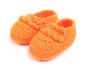 FuzzyGreen®Orange Baby Newborn Infant Girl Boy Hand Knitting Crochet Pre Walker Comfortable Toddler Buckle Shoes Socks Booties+Gift