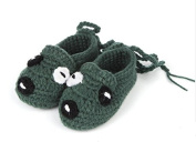 FuzzyGreen®Puppy Dog Unisex Baby Newborn Infant Handmade Crochet Knitting Toddler Shoes Pre Walker Socks Booties(Celadon)+Gift