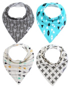 Matimati Baby Bandana Drool Bibs, Unisex 4-Pack Absorbent Cotton, Cute Baby Gift for Boys & Girls