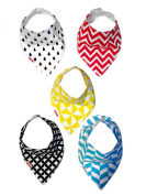 Adjustable Baby Bandana Teething Bib for infants and toddlers (set of 5). Unisex modern bib for boys and girls.Very absorbent organic cotton