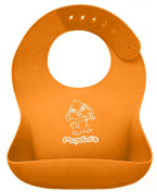 McPolo's Very Smiley Kitty iBib 100% Portable Silicone Baby Bib - Waterproof with Crumb Catcher Pocket Ultra Soft Easily Wipes Clean Stains Off – Best for 2 MO to 6 YO Babies Toddlers PreSchoolers