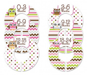 #C195 Owl Girl Baby Closet Dividers Clothes Organisers Set of 6