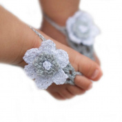 Pure Handmade Knit Flowers Barefoot Sandals Infant Toddler Baby Feet Decoration