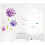 Removable Vinyl Wall Sticker Mural Decal Art Purple Dandelion Art