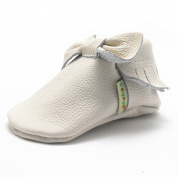 Sayoyo Baby White Bow Tassels Soft Sole Leather Infant Toddler Prewalker Shoes