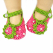 Fanhong 1Pair Baby Infant Newborn Soft Warm Handmade Wool Knit Flowers Shoes 3-12 months Rose