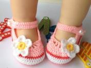 MKPLY Pink White Flower Baby Newborn Infant Girls Crochet Knit Socks Crib Casual Shoes Prewalker