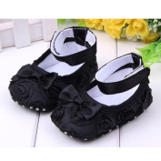 Cute Baby Girl Crib Shoes Comfortable Soft Sole Anti-Slip Sandal Princess Rose Flower Infant Toddler Shoes Black