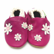 Sayoyo Baby Daisy Soft Sole Leather Infant Toddler Prewalker Shoes Red