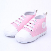 Cute Infant Toddler Baby Soft Sneaker Anti-skid Prewalker Casual Lace-up Canvas Trainers Crib Shoes Pink