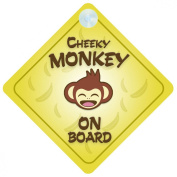 Cheeky Monkey On Board Car Sign New Baby / Child Gift / Present / Baby Shower Surprise