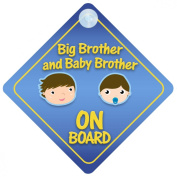 Big Brother And Baby Brother On Board Car Sign New Baby / Child Gift / Present / Baby Shower Surprise