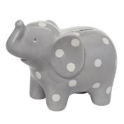 Elegant Baby Ceramic Elephant Bank with White Polka Dots, Grey