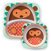 Skip Hop Zoo Melamine Plate and Bowl Set, Hedgehog