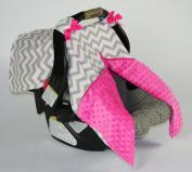 "BayB Brand Car Seat Canopy - ""Grey Chevron / Hot Pink"""