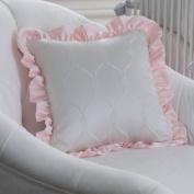 White Diamonds Square Decorative Pillow with Ruffle