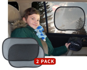 Car Sun Shade by Kassa (Set of 2) - Baby Sun Shade with UPF 30+ Sun Protection For Car - Static Cling Car Sunshade for Ultimate Car UV Protection- Car Window Shade