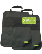 "Car Kick Mat and Organiser - 2 Count, With Free ""KIDS ON BOARD"" Car Sticker-by Baby Mushroom- Premium Quality Car Back Seat Protectors-100% Lifetime Guarantee!"