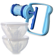 Freemie Equality Double Manual Concealable Breast Pump, Blue and Clear, 25/28mm Funnels