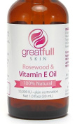 Vitamin E with Rosewood Oil By GreatFull Skin, 100% Natural - 10000 IU, 30ml