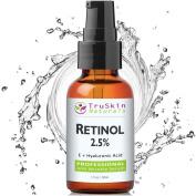 BEST Retinol Serum for Wrinkles & Fine Lines -2.5% Vitamin A + Hyaluronic Acid, Vitamin E, Organic Green Tea, Jojoba Oil - Works Best With TruSkin Naturals Vitamin C Anti Ageing Serum -