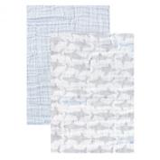 Yoga Sprout Muslin Swaddle Blankets, Blue Shark, 120cm x 120cm