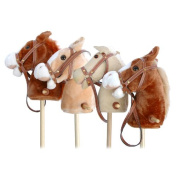 "Pink Papaya | Stick horse - ""Cordy"" - Beige stick horse made of cord with white mane and with sound effect"