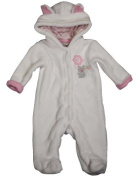 Happi by Dena - Newborn Girls Long Sleeve Footed Plush Coverall, White 34832-0-3Months Colour