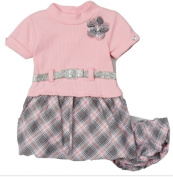 GIRLS PINK & GREY PLAID BELTED DRESS & BLOOMERS 18MTHS - New