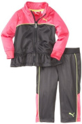 PUMA Baby-Girls Infant Colorblock Peplum Tricot Set, Dark Grey, 12 Months Colour