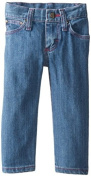 Wrangler Baby-Girls Five Pocket Styling with Embroidery and Patch Jean, Baby Blue, 24 Months Colour