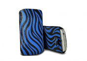 C63® Blue iPhone 4 / 4S Pull Tab Zebra Design Premium Quality Protective Pouch Case