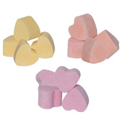 12 x Lemon, Mango & Strawberry Scented Bath Hearts Fizzers Mini Bombs 10g Each