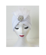 White Feather & Pearl Diamante Turban Headpiece Flapper Vintage Cloche 1920s N53 *EXCLUSIVELY SOLD BY STARCROSSED BEAUTY*