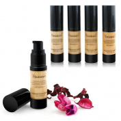 4 x FOUNDATION LUXURY GLASS BOTTLE 4 DIFFERENT SHADES IND BOXED WHOLESALE UK